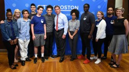 students with Mayor Marty Walsh