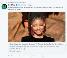 Malia tweet about Halle Bailey