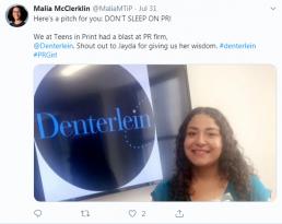 Malia Tweet about Denterlein PR firm