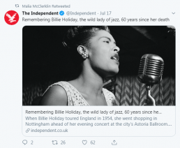 Malia tweet about Billie Holiday