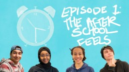 Four Teens in Print students smiling under a clock graphic and the words