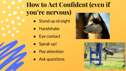 image of Power Point slide: how to act confident if you're nervous