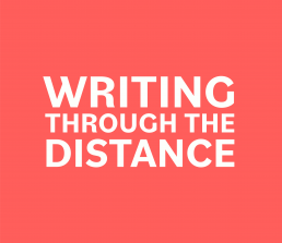 writing through the distance logo, white text on pink background