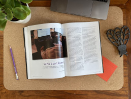 Aerial view of the Writing through the Distance magazine lying open on a desk