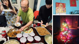 Grid of images: family standing beside a table, eating American and Asian cuisine; Chinese and Vietnamese calendars on a blue wall; Christmas tree with colorful lights